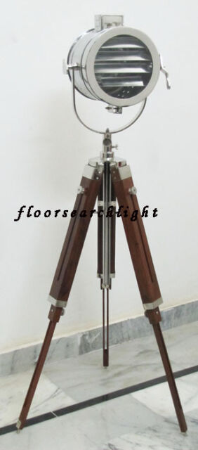 COLLECTIBLE CHROME SPOT LIGHT SEARCHLIGHT STUDIO FLOOR LAMP WOODEN TRIPOD STAND