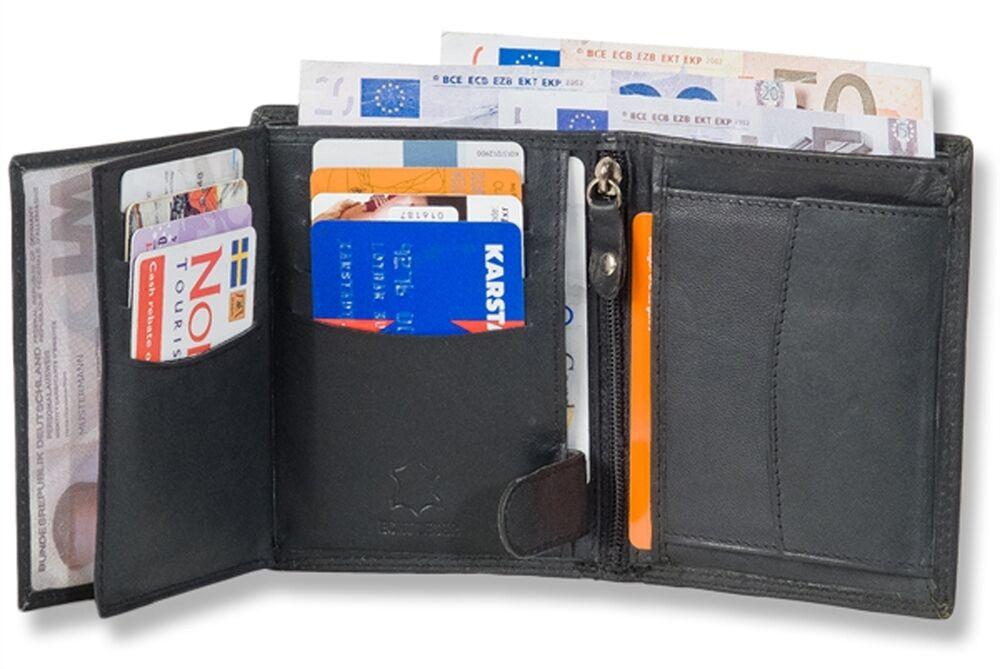 + Rinaldo Geldbörse Portemonnaie Hochformat-Riegelbörse aus Büffelleder Schwarz