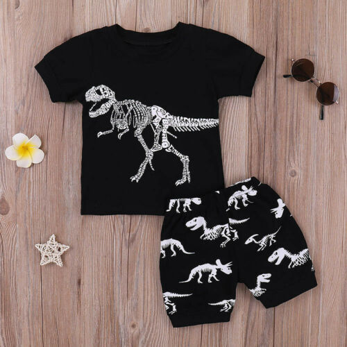 Shorts Child Boy Dinosaur Graffiti Two-piece Summer Suit Short-sleeved T-shirt