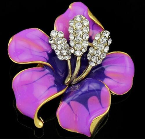 Newest Wedding Bridal Colorful Rhinestone Crystal Pearl Flower Broach Brooch Pin