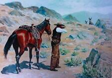 vintage art by A.B. Frost Cowboy with Horse aiming Hunting