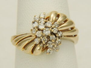 36209c9c38d0b Details about Vintage 14K Yellow Gold .25ctw Diamond Waterfall Cluster  Cocktail Ring 5.2 gms