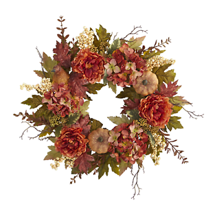 Artificial Fall Wreath Silk Flowers Thanksgiving Faux ...
