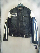 VINTAGE 70'S REDSKINS DISTRESSED LEATHER CAFE RACER MOTORCYCLE JACKET SIZE XL