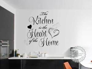 Kitchen Wall Sticker Quote, Kitchen is Heart of Home, Family Wall ...