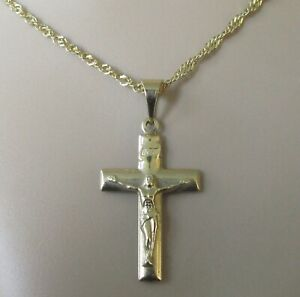 Collar de Oro de 9ct - 9ct Oro Cruz Colgante Crucifijo & 9ct Cadena de oro (5.8g)