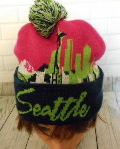 17c7cd038 Seattle Seahawks Player No 12 Seattle SkyLine Green Blue Pink Beanie ...