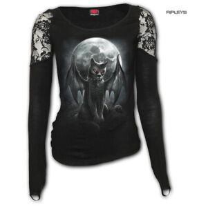 Spiral-Direct-Ladies-Gothic-Black-Top-Vampire-VAMP-CAT-L-Sleeve-Lace-All-Sizes