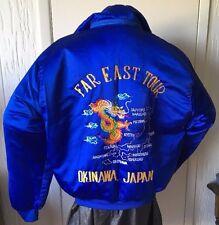 Far East Tour Okinawa Japan Jacket/Coat blue Dragons Map Hooded