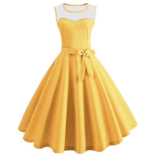 Women 50/'s Polka Dot Rockabilly Party Dress Petticoat Hepburn Swing Casual Dress