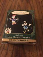 Hallmark Keepsake 1999 Girl Talk Miniature Minnie Mouse And Daisy Duck Ornaments