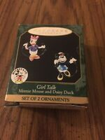 Hallmark Keepsake 1999 Girl Talk Miniature Minnie Mouse And Daisy Duck Ornaments