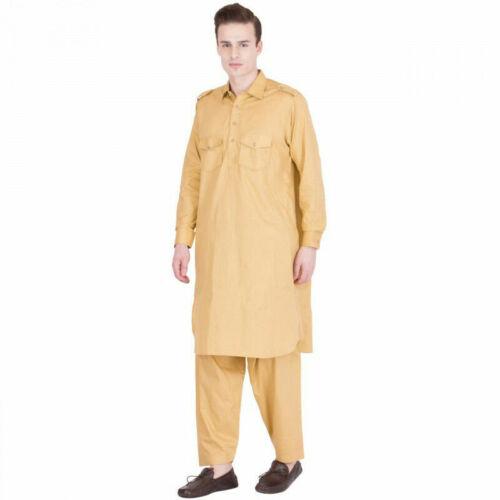 Men/'s Pathani Kurta Pajama Ethnic Suit Cotton Fabric Solid Musturd