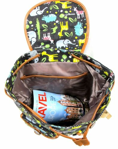 """16/""""H Women/'s Canvas Backpack w//Nature Print Drawstring Closure"""