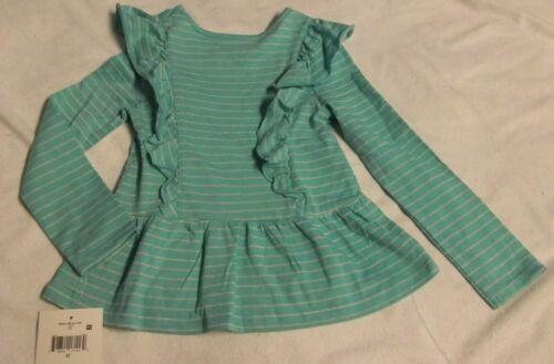 NWT Girls 4T Blue Striped Peplum Ruffles Glitter Shirt Long Sleeve Falls Creek