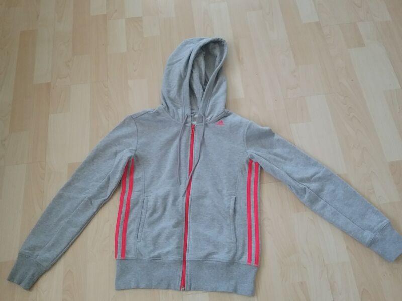 Adidas 3s Essentials Jacke Damen Sweatjacke Grau Pink Xs