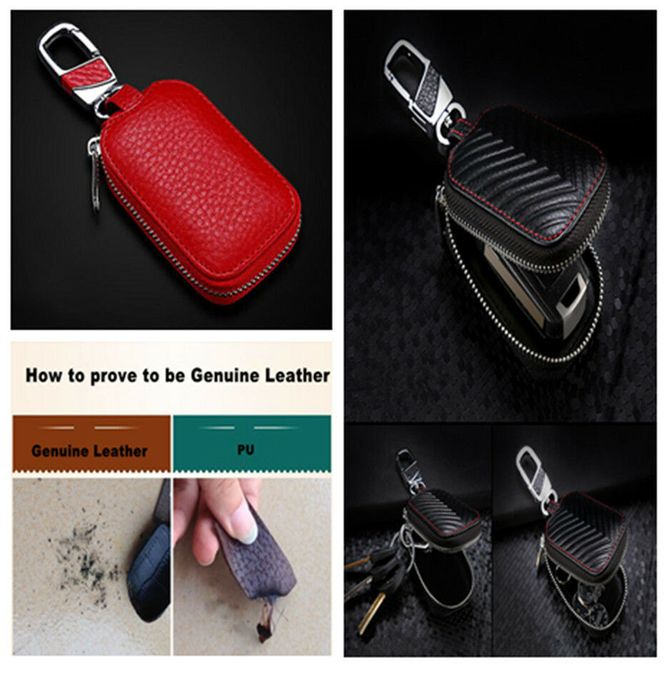 Universal RED Genuine Leather Key Holder Key Purse Bag Smooth Zipper for Car