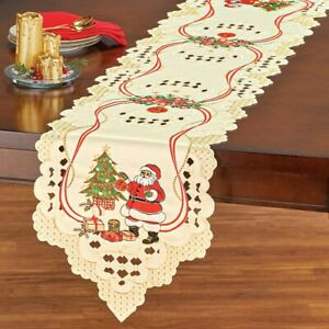 Exquisite Embroidery Santa Claus and Christmas Tree Polyester Table Runner