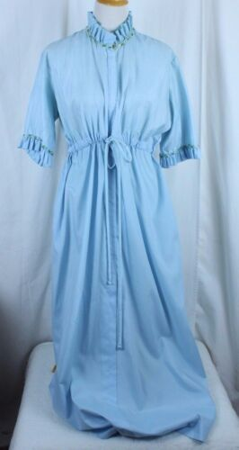 Vtg Loungees Robe Blue Size 14 See Measurements Zi