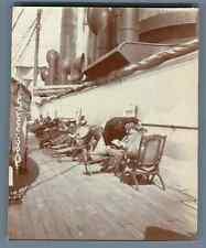 Pont du Bateau de Messagerie Maritime, Ligne Hong Kong  Vintage citrate print.
