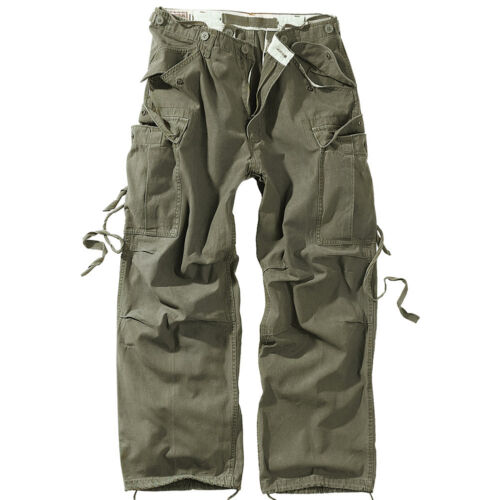 Vintage Mens Pants Cargo Trousers Surplus Work Casual Combats Army Olive XS-XXL