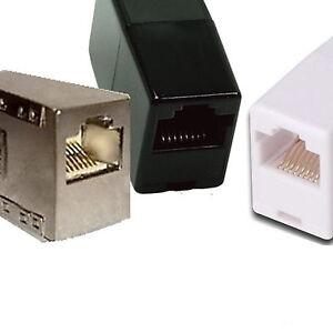 RJ11-Netzwerk-Kabel-Adapter-Patch-Kupplung-CAT5-Weiss-Black-iSDN-DSL-Metall-CAT6