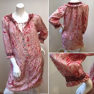 Collette-Dress-Silk-Red-White-Black-Paisley-Graphic-3-4-Sleeve-Print-6-8-S-Lady