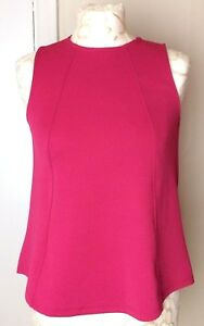 TOPSHOP-Women-Pink-Top-8-Sleeveless-Shell-Texture-Frill-Panel-Crew-Flare-Casual
