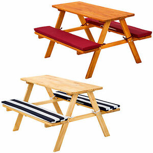 Image Is Loading Kids Picnic Table Bench Set Childrens Wood Garden