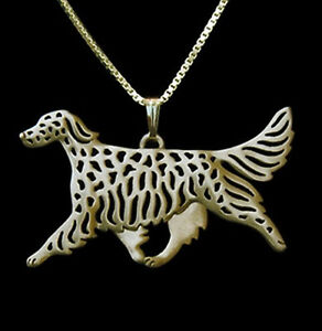 English Setter Running Dog Pendant Necklace -  Fashion Jewellery - Gold Plated
