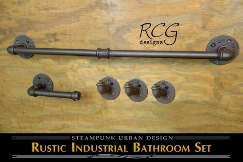 Industrial Bathroom Pipe Set C (Towel Rack, 3 Hooks, Toilet Paper Holder)