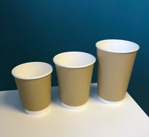PAPER COFFEE CUPS DOUBLE WALL BROWN KRAFT 8oz 12oz 16oz /& SIP LIDS Hot Drinks