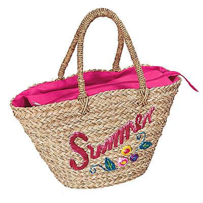 Korbtasche Summer Pink Shopper Einkaufstasche Handtasche Damentasche NEU