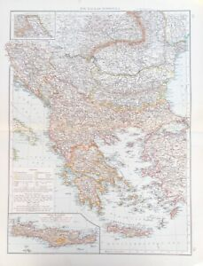 Details about Map of the Balkan Peninsula, Greece, Romania & Turkey. 1900.  SERBIA. MACEDONIA