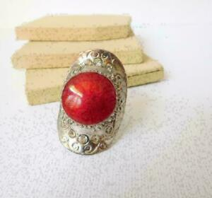 Huge-Red-Shimmer-Enamel-Rhinestone-Silver-Tone-Boho-Statement-Ring-Size-7-D25