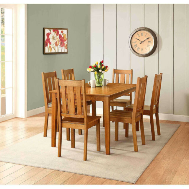 7 Pc Dining Room Set Kitchen Tables With Leaf Along With 6 Dining Chairs For Sale Online Ebay