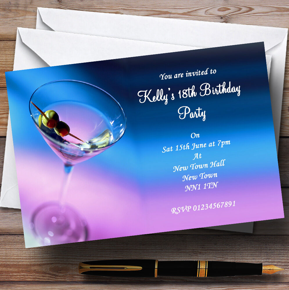 lila Blau Martini Cocktail Personalised Party Invitations