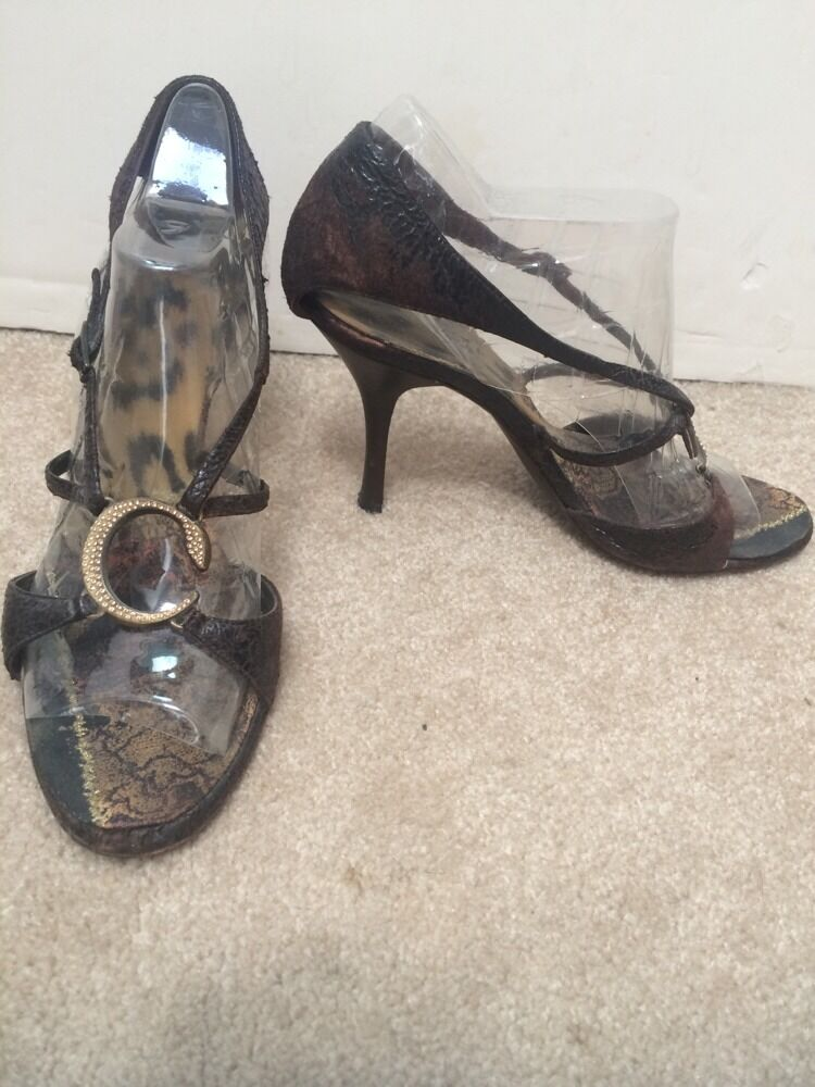 Roberto Cavalli Heels Brown Suede & Leather Leather Leather Heels Rhinestone Logo Size 7 f8662b
