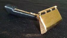 Vintage Art-Deco GEM Push-Button Gold Tone Safety Razor Ribbed Handle Estate USA