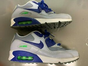 Details about Nike Air Max 90 Leather Gray Royal Blue Green 724821 005 (size 5.5Y