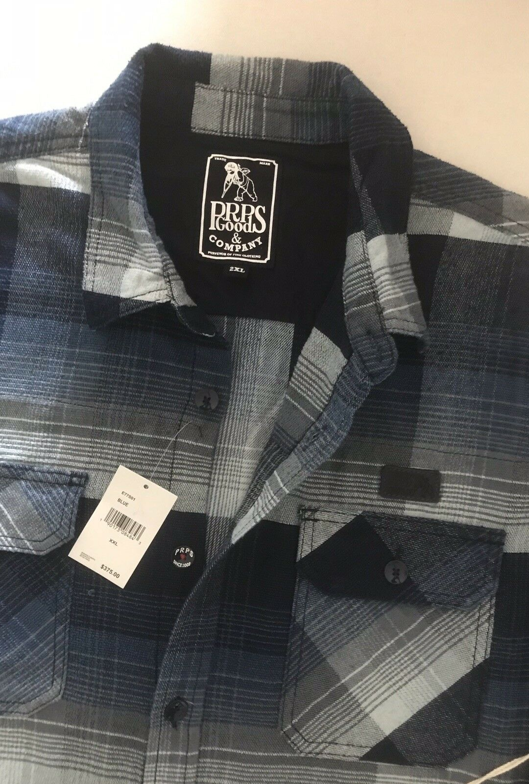 PRPS Goods & Company NWT Men's shirt E77S01 bluee 100% Cotton Size 2XL New