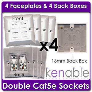 4-X-Toma-Doble-Rj45-Cat5e-cara-placas-amp-Back-Cajas
