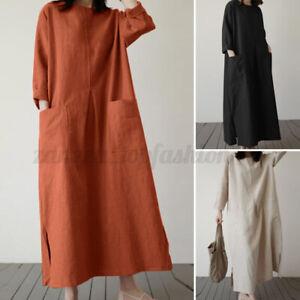 ZANZEA-Women-Long-Sleeve-Maxi-Kaftan-Abaya-Caftan-Loose-Plus-Size-Dress-S-5XL