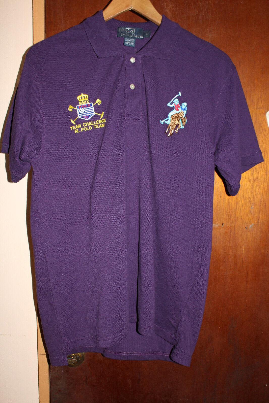 Polo Ralph Lauren Team Challenge RL Polo Team Men's Purple Polo Shirt Size Large