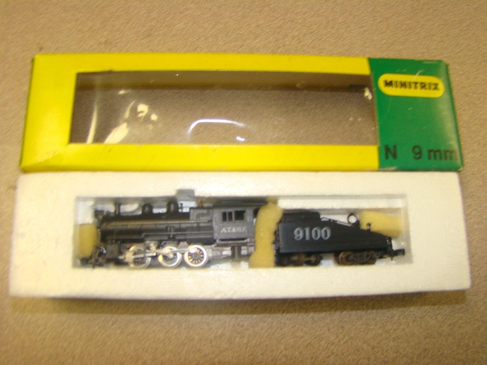 MINITRIX STEAM LOCOMOTIVE & TENDER AT & SF.9100  N SCALE TRAIN   2916