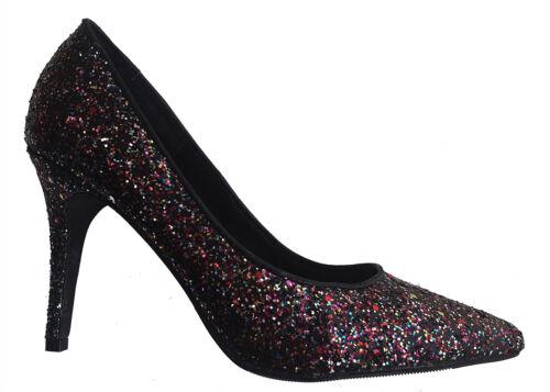 H/&m Femme Noir Multi Paillettes Bout Pointu Talon Aiguille Soirée Chaussures 24.99 £