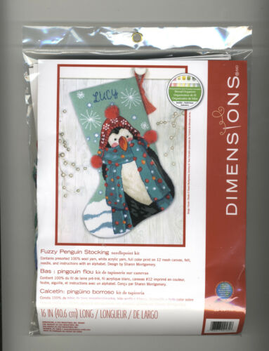 Needlepoint Kit ~ Dimenisons Fuzzy Penguin Christmas Stocking #71-09160