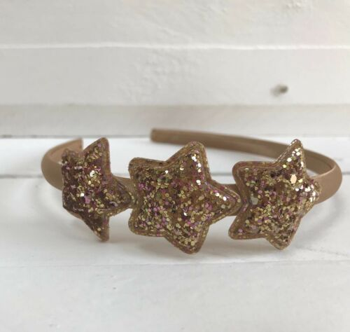 Gold Satin Girls Hairband Headband Alice Band Glitter Stars Party Bridesmaid