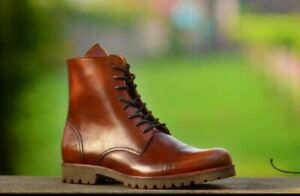 Men-039-s-Handmade-Tan-Brown-Leather-Hiking-Boots-Casual-Dress-Real-Calf-Skin-Shoes