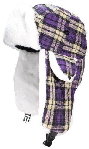BWH Big Kids Quality Tartan Plaid Russian//Trapper Hat W//Faux Fur #189 Purple